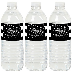 New Year's Eve - Silver - New Year's Eve Party Water Bottle Sticker Labels - Set of 20