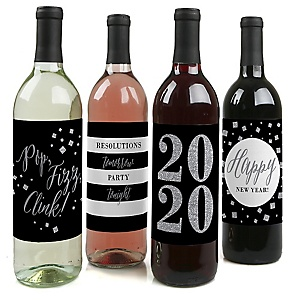 2020 New Year's Eve - Silver - Holiday Decorations for Women and Men - Wine Bottle Label Stickers - Set of 4