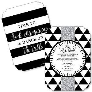 New Year's Eve - Silver - Shaped New Year's Eve Party Invitations - Set of 12