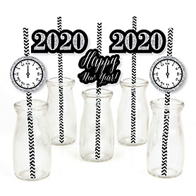 New Year's Eve - Silver - Paper Straw Decor - 2020 New Year's Eve Party Striped Decorative Straws - Set of 24