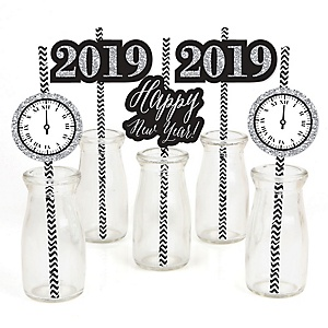 new years eve silver paper straw decor 2019 new years eve party striped decorative straws set of 24
