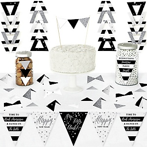New Year's Eve - Silver - DIY Pennant Banner Decorations - New Years Eve Party Triangle Kit - 99 Pieces
