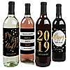 New Year's Eve - Gold - 2019 Holiday Wine Bottle Label Stickers - Set of 4