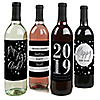 2019 New Year's Eve - Silver - Holiday Wine Bottle Label Stickers - Set of 4