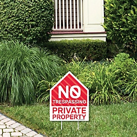 No Trespassing - Outdoor Lawn Sign - Private Property Yard Sign - 1 Piece