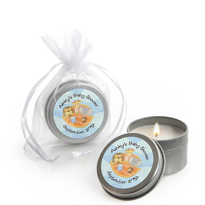 Noah's Ark - Personalized Baby Shower Candle Tin Favors - Set of 12