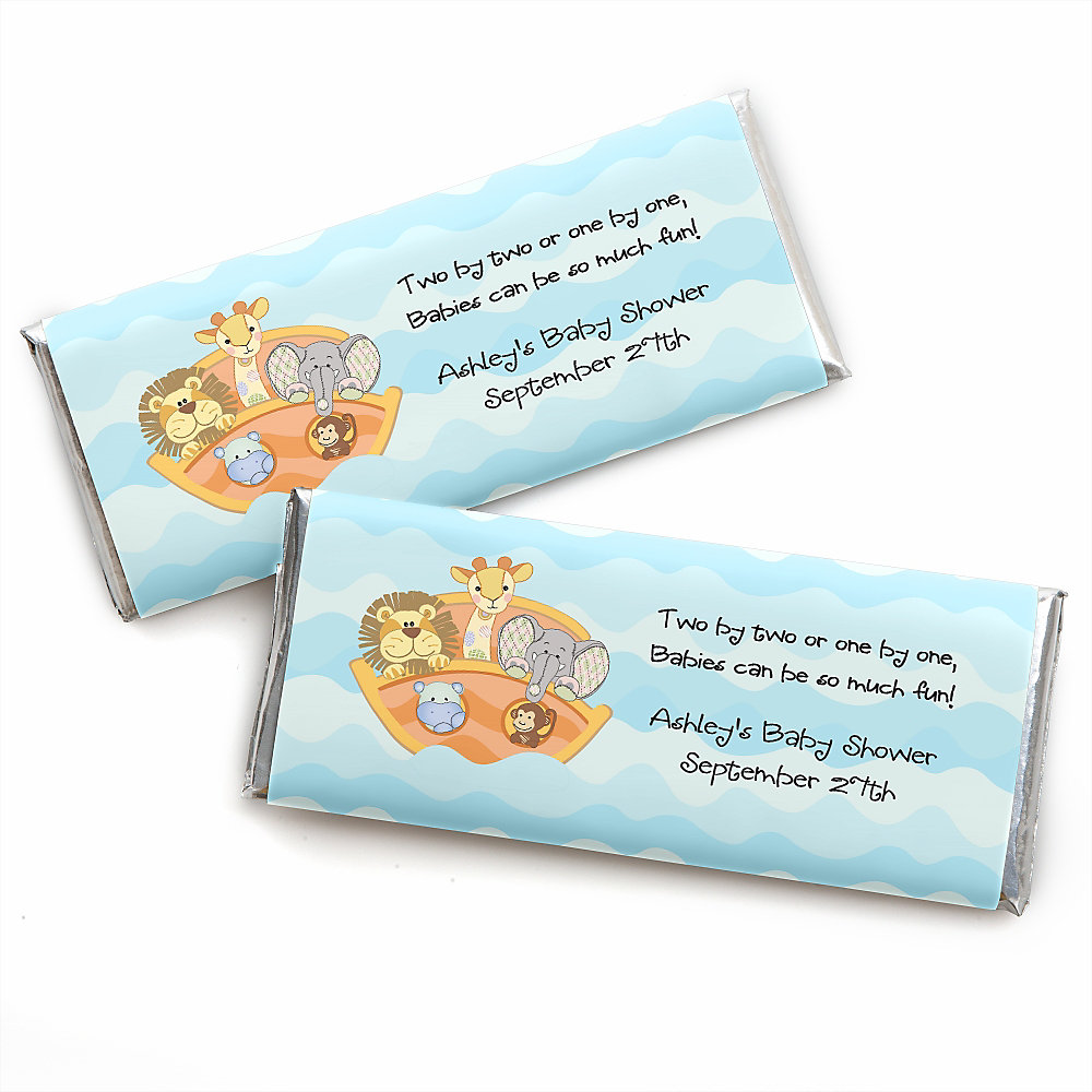 More Views. Noahu0027s Ark   Personalized Candy Bar Wrappers Baby Shower ...