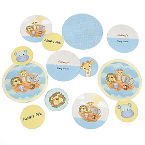 Noah's Ark - Personalized Baby Shower Giant Circle Confetti - Twins Baby Shower Decorations - Large Confetti 27 Count