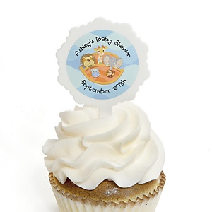 Noah's Ark - 12 Cupcake Picks & 24 Personalized Stickers - Baby Shower Cupcake Toppers