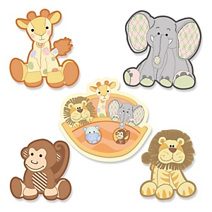 Noah's Ark - DIY Shaped Baby Shower Paper Cut-Outs - 24 ct