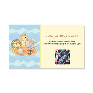 Noah's Ark - Personalized Baby Shower Game Scratch Off Cards - 22 ct
