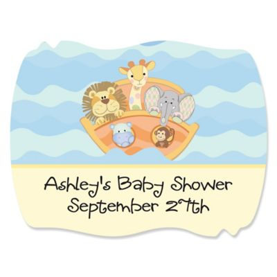 Noahu0027s Ark   Personalized Baby Shower Squiggle Stickers   16 Ct
