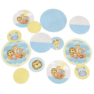 Noah's Ark - Baby Shower Giant Circle Confetti - Twins Baby Shower Decorations - Large Confetti 27 Count