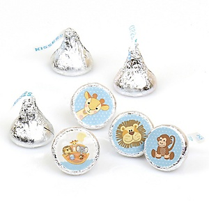 Noah's Ark - Round Candy Labels Party Favors - Fits Hershey's Kisses - 108 ct