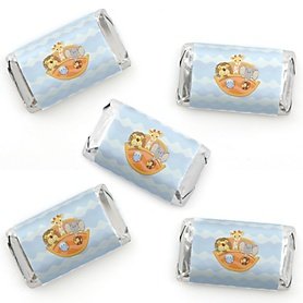 Noah's Ark - Mini Candy Bar Wrapper Stickers - Baby Shower Small Favors - 40 Count