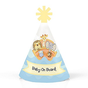 Noah's Ark - Personalized Mini Cone Baby Shower or Birthday Party Hats - Small Little Party Hats - Set of 10