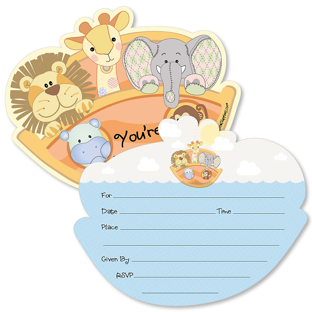 Noah S Ark Shaped Fill In Invitations Baby Shower Invitation Cards With Envelopes Set Of 12