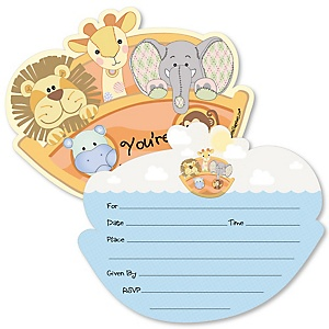 Noah's Ark - Shaped Fill-In Invitations - Baby Shower Invitation Cards with Envelopes - Set of 12