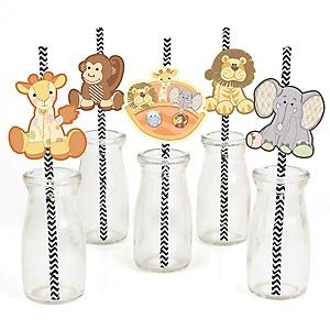 Noah's Ark - Paper Straw Decor - Baby Shower Striped Decorative Straws - Set of 24