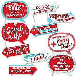Funny Nurse Graduation - 10 Piece Medical Nursing Graduation Party Photo Booth Props Kit
