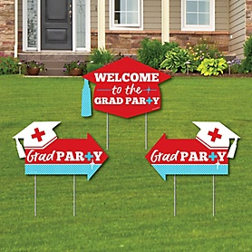 Nurse Graduation - Graduation Party Yard Sign with Stakes - Double Sided Outdoor Lawn Sign - Set of 3