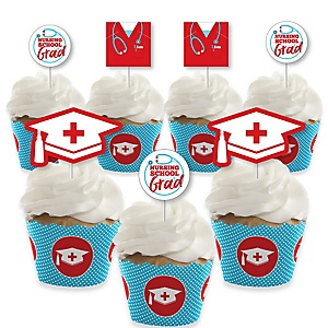 Nurse Graduation - Cupcake Decoration - Medical Nursing Graduation Party Cupcake Wrappers and Treat Picks Kit - Set of 24