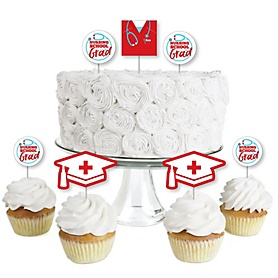 Nurse Graduation - Dessert Cupcake Toppers - Medical Nursing Graduation Party Clear Treat Picks - Set of 24