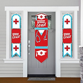 Nurse Graduation - Hanging Porch Front Door Signs - Medical Nursing Graduation Party Banner Decoration Kit - Outdoor Door Decor