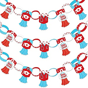 Nurse Graduation - 90 Chain Links and 30 Paper Tassels Decoration Kit - Medical Nursing Graduation Party Paper Chains Garland - 21 feet