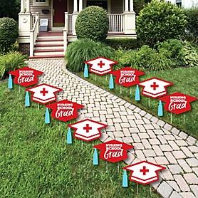 Nurse Graduation - Grad Cap Lawn Decorations - Outdoor Medical Nursing Graduation Party Yard Decorations - 10 Piece