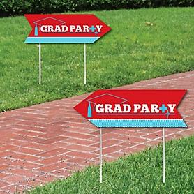 Nurse Graduation - Medical Nursing Graduation Party Sign Arrow - Double Sided Directional Yard Signs - Set of 2