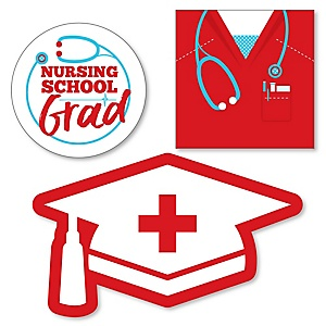Nurse Graduation - DIY Shaped Medical Nursing Graduation Party Paper Cut-Outs - 24 ct