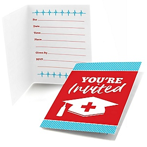 Nurse Graduation - Medical Nursing Graduation Party Fill In Invitations - 8 ct