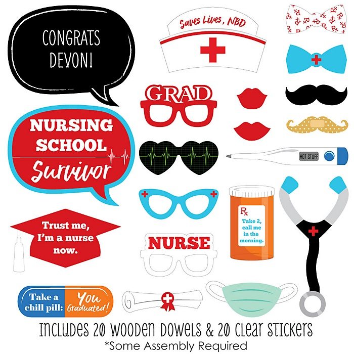 Nurse Graduation - 20 Piece Medical Nursing Graduation Photo Booth Props Kit