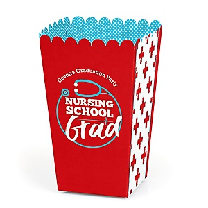 Nurse Graduation - Personalized Medical Nursing Graduation Popcorn Favor Treat Boxes - Set of 12