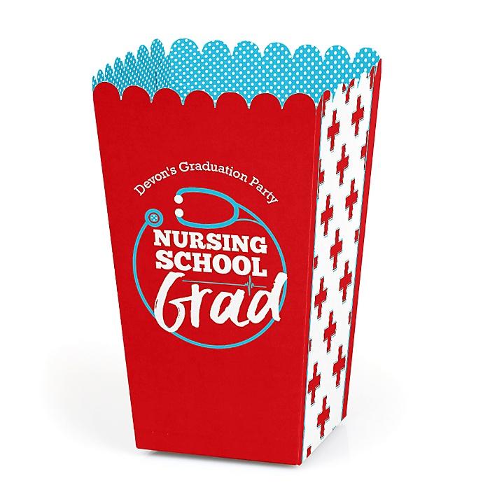Nurse Graduation - Personalized Medical Nursing Graduation Popcorn Favor Treat Boxes - Set of 12