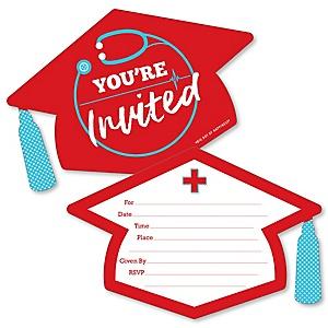 Nurse Graduation - Shaped Fill-In Invitations - Medical Nursing Graduation Party Invitation Cards with Envelopes - Set of 12