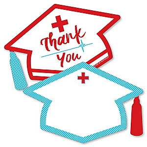 Nurse Graduation - Shaped Thank You Cards - Medical Nursing Graduation Party Thank You Note Cards with Envelopes - Set of 12