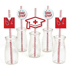 Nurse Graduation - Paper Straw Decor - Medical Nursing Graduation Party Striped Decorative Straws - Set of 24
