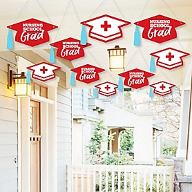 Hanging Nurse Graduation - Outdoor Medical Nursing Graduation Party Hanging Porch & Tree Yard Decorations - 10 Pieces