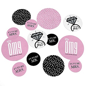 OMG, You're Getting Married! - Engagement Party Giant Circle Confetti - Bachelorette Party Decorations - Large Confetti 27 Count
