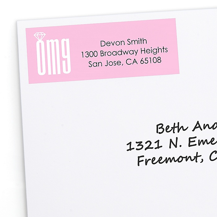 OMG, You're Getting Married! - Personalized Engagement Party Return Address Labels - 30 ct
