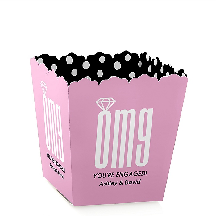 OMG, You're Getting Married! - Party Mini Favor Boxes - Personalized Engagement Party Treat Candy Boxes - Set of 12