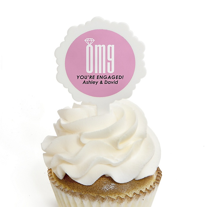 OMG, You're Getting Married! - Personalized Engagement Party Cupcake Picks and Sticker Kit - 12 ct