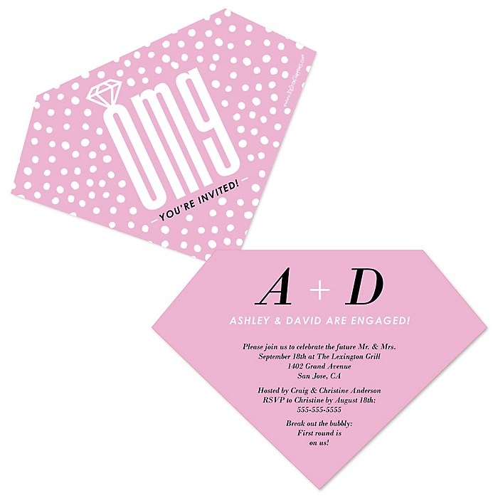 OMG, You're Getting Married! - Shaped Engagement Party Invitations - Set of 12