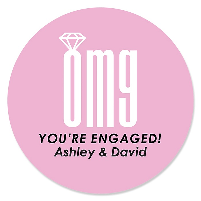 OMG, You're Getting Married! - Personalized Engagement Party Sticker Labels - 24 ct