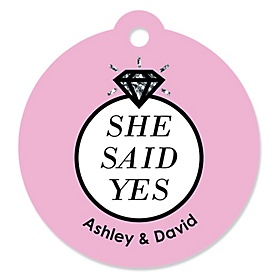 OMG, You're Getting Married! - Round Personalized Engagement Party Tags - 20 ct