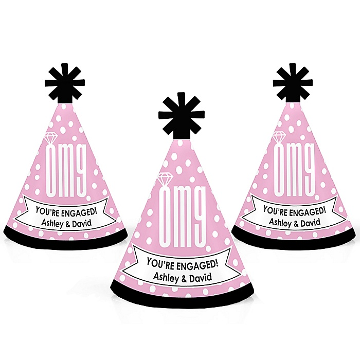 OMG, You're Getting Married! - Personalized Mini Cone Engagement Party Hats - Small Little Party Hats - Set of 10