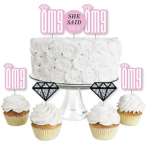 OMG, You're Getting Married! - Dessert Cupcake Toppers - Engagement Party Clear Treat Picks - Set of 24