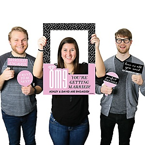 OMG, You're Getting Married! - Personalized Engagement Selfie Photo Booth Picture Frame & Props - Printed on Sturdy Material